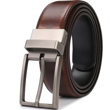 Mens Genuine Leather Reversible Belts Luxury Male Waistband Rotated Buckle Dress 75cm to 160cm