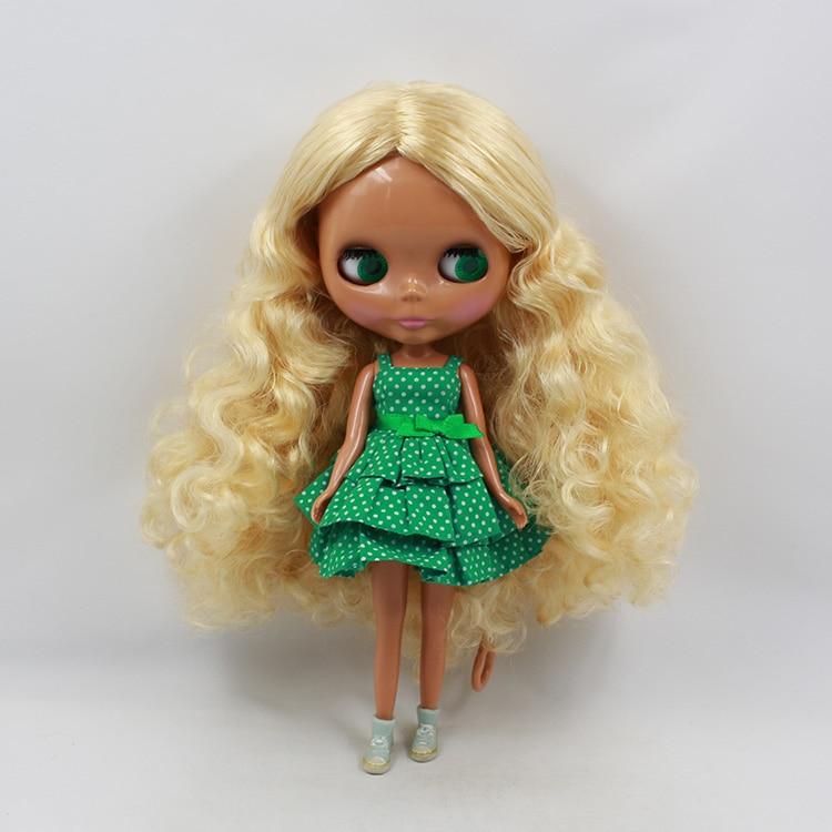 Mini Nude black Blyth dolls blond long curly hair modified DIY Blythedoll doll girl birthday gifts