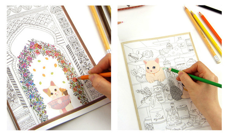 Korean Jetoy Cute Choo Cat Art Coloring Book Graffiti Drawing Painting Books Relieve Stress Like Secret Garden Adult Kids In From Office School