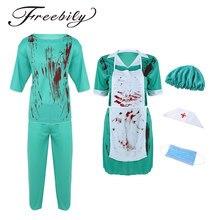 fd1779c60 Nova Adulto Mens Cirurgia Médico ou Enfermeira Mulheres Horríveis  Assustadoras Sangrentas Costumes Terno Uniforme Halloween Fantasias