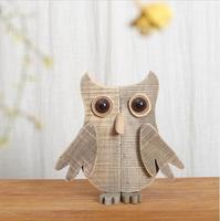 Simple original modern wooden animal desktop ornaments handmade abstract wood owl figurine artesanato creative home decorations
