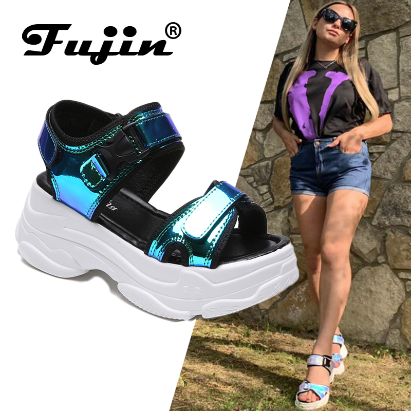 Fujin Brand Women Sandals 2019 New Fashion Ladies Casual Shoes Bling Wedges Buckle Strap  Platform Shoes  5 CM  Summer SandalsFujin Brand Women Sandals 2019 New Fashion Ladies Casual Shoes Bling Wedges Buckle Strap  Platform Shoes  5 CM  Summer Sandals