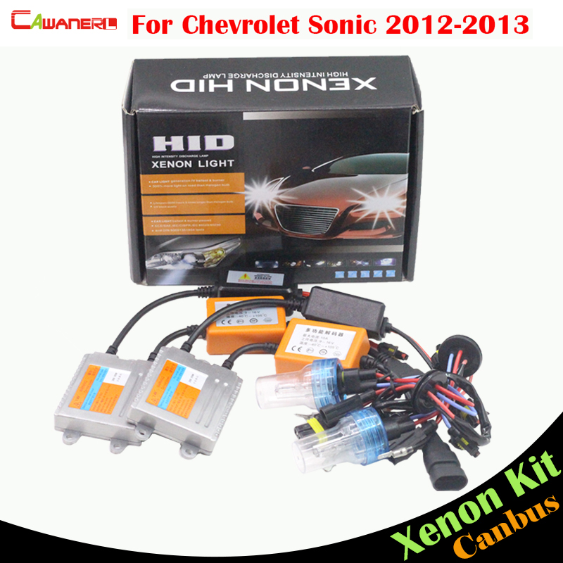 Cawanerl 55W Car Canbus HID Xenon Kit Error Free Ballast Bulb AC 3000K-8000K Headlight Low Beam For Chevrolet Sonic 2012 2013
