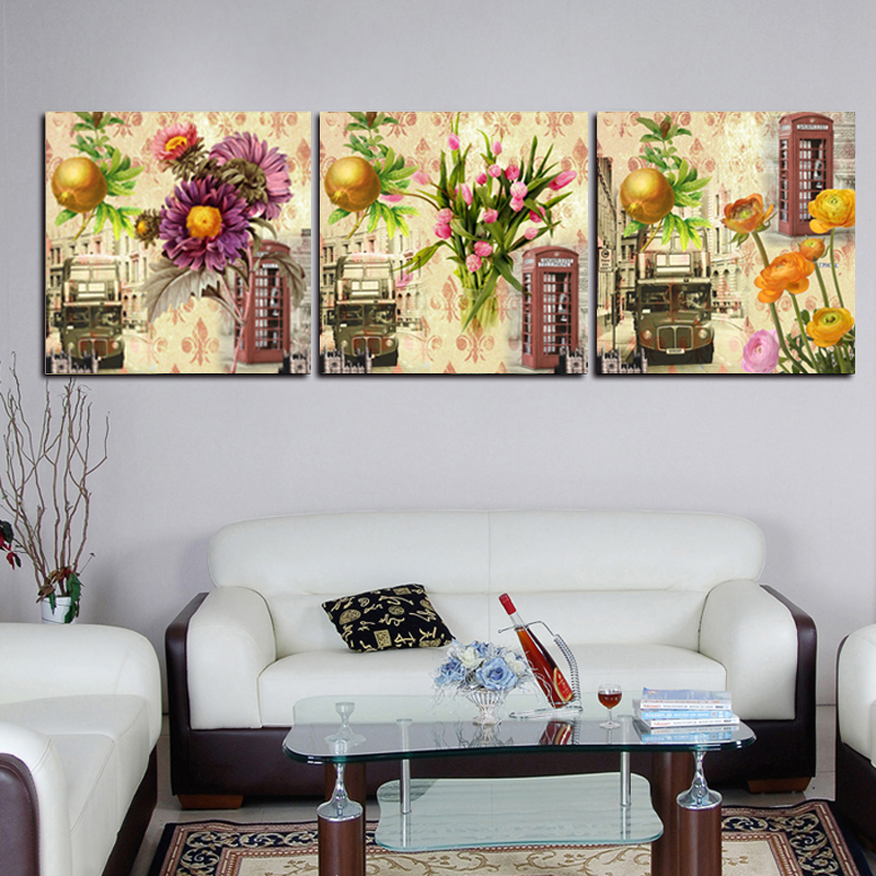Vintage Wall Decor For Living Room : Vintage print canvas painting flower wall pictures for