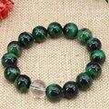 5 style bracelets natural 12mm tiger eyes stone black obsidian jasper round beads strand bangle charms jewelry 7.5inch B3161