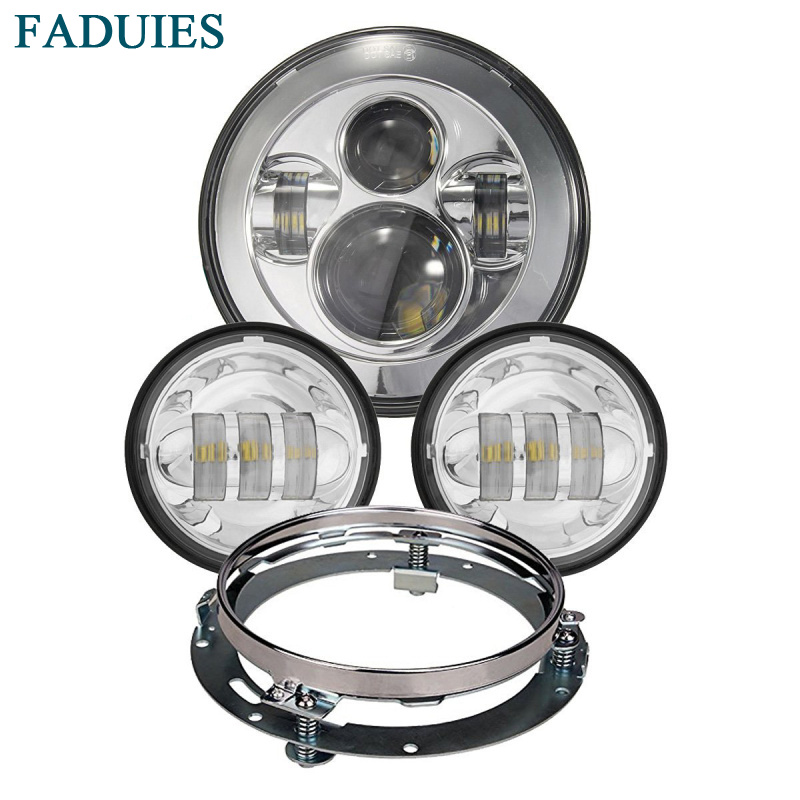 Harley Daymaker 7 inch LED Headlight with 4.5 inch Led Fog Light For Harley Davidson Motorcycle with 7 Bracket Adapter Ring black 7 inch motorcycle daymaker replacement led headlight 2 x 4 5 fog lights for harley davidson road king with 7 bracket