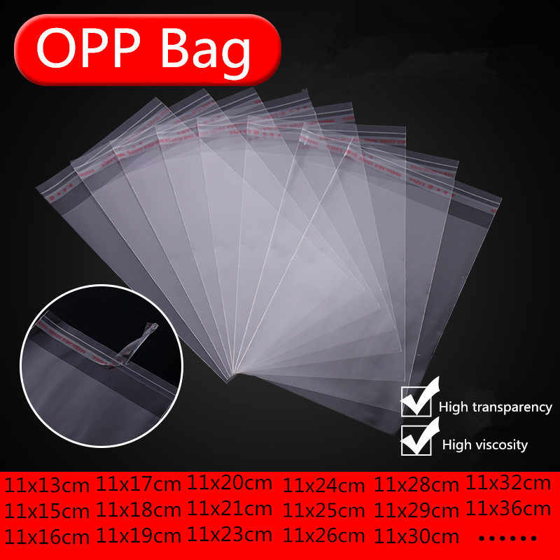100pcs Width 11cm Storage Bags Clear Self Adhesive Seal Plastic Packaging Bag Resealable Cellophane OPP Poly Bags Gift Bags 66