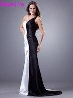 シンプルな黒と白のマーメイドロングイブニングドレス2017片方の肩プリーツストレッチサテン女