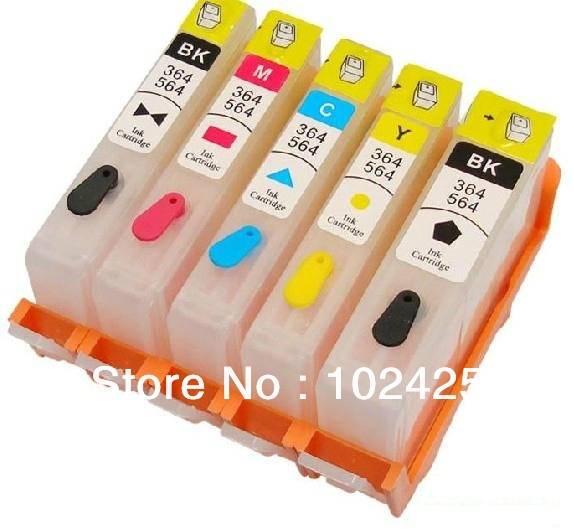 5 empty Refillable  ink cartridge ARC chips for HP178 KKCMY