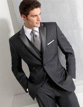 (Jacket+Vest+Pants) High quality Men Suits Fashion grid Mens Slim Fit business wedding Suit men Wedding suit