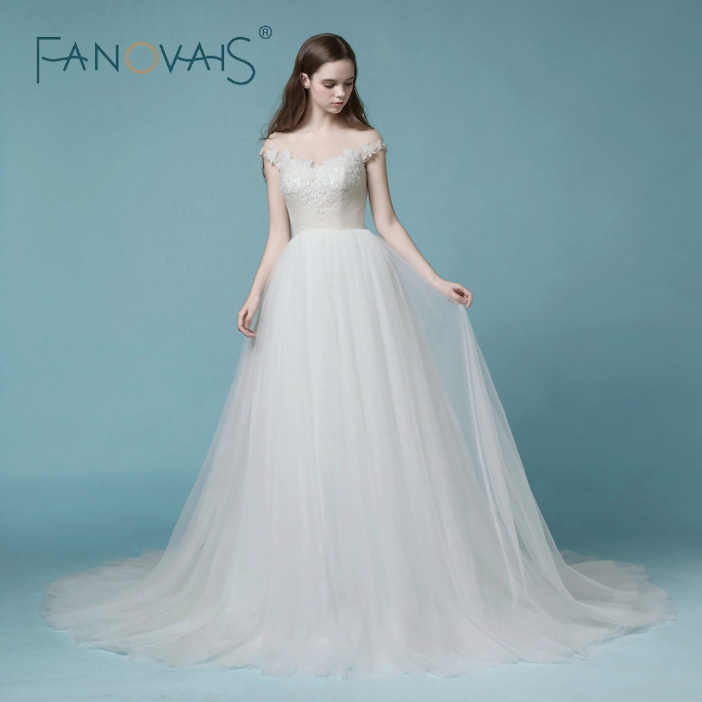 Custom Made Luxury Pearls Lace Wedding Dress Strapless Ball Gown ...