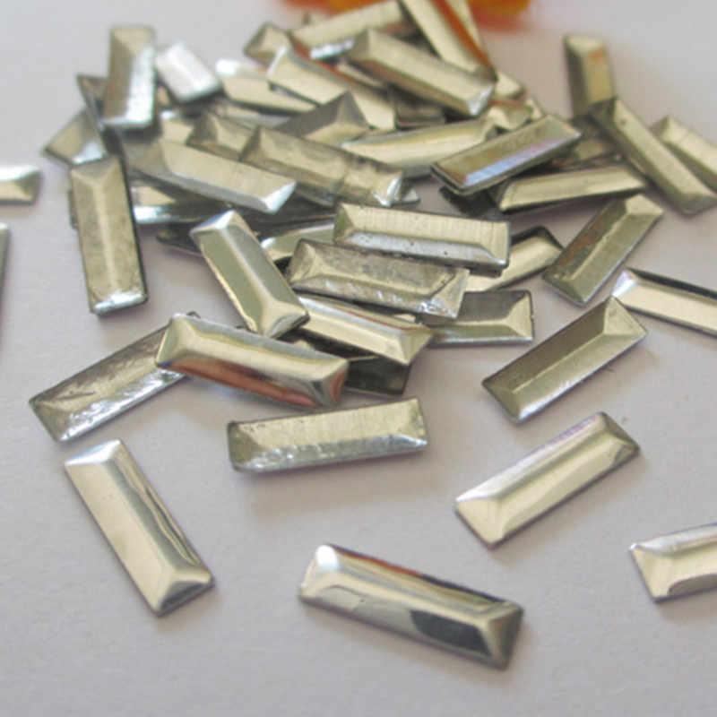 Nuevo 1,5*5mm plata aluminio rectángulo forma caliente fix Nailheads Panel prensado tachuelas Punk Rock DIY Spikes para accesorios de vestir