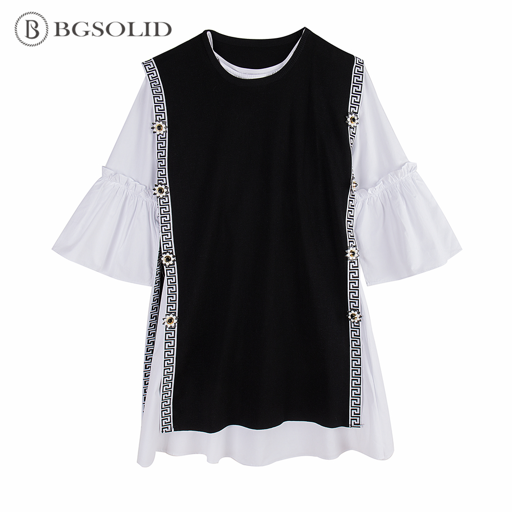 BGSOLID/Новинка 2019 года, весенний вязаный жилет с цветочным принтом + платье-рубашка с расклешенными рукавами, комплект из двух предметов