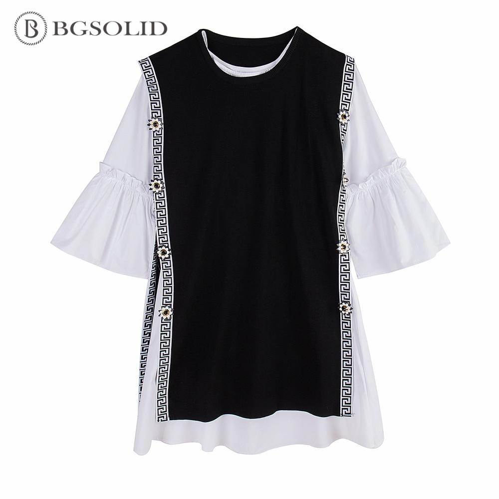 BGSOLID Primavera 2019 nova flor dividir knit colete + camisa de manga queimado vestido two-piece set
