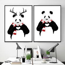 Illustration Panda Hand Heart Antler Wall Art Canvas Painting Nordic Posters And Prints Pictures For Living Room Home Decor