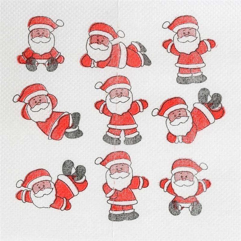 Санта Клаус печатная туалетная бумага для рождества 10X10 см переработанная целлюлозная туалетная бумага, подарок Туалет прокатки Бумага Туалет Бумага