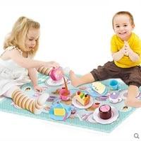 Kids Play Kitchen Set DIY Toys Pretend Play Food Cooking Tea Set Cutting Birthday Cake Toys