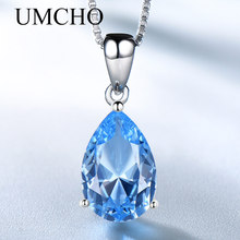 UMCHO Simulate Blue Topaz Pendant Necklace for Women Water Drop Solitaire 925 Sterling Silver Chain Fashion Necklace for Women