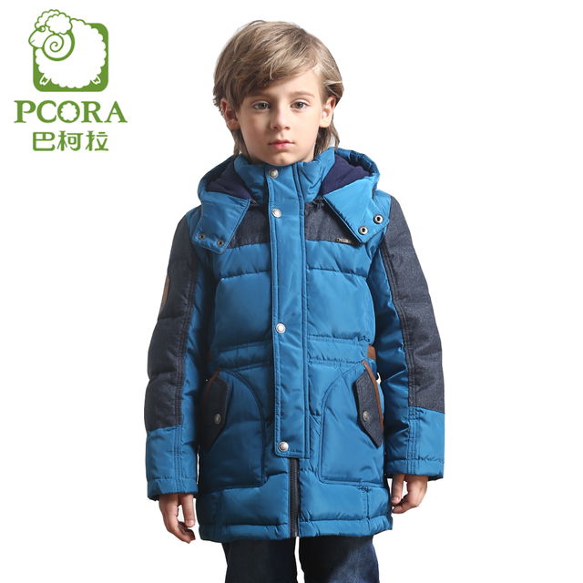 PCORA Boys Winter Down Jackets Long Style Blue Color Patchwork Children Thick Down Coat Keep Warm Detachable Cap Boys Clothing