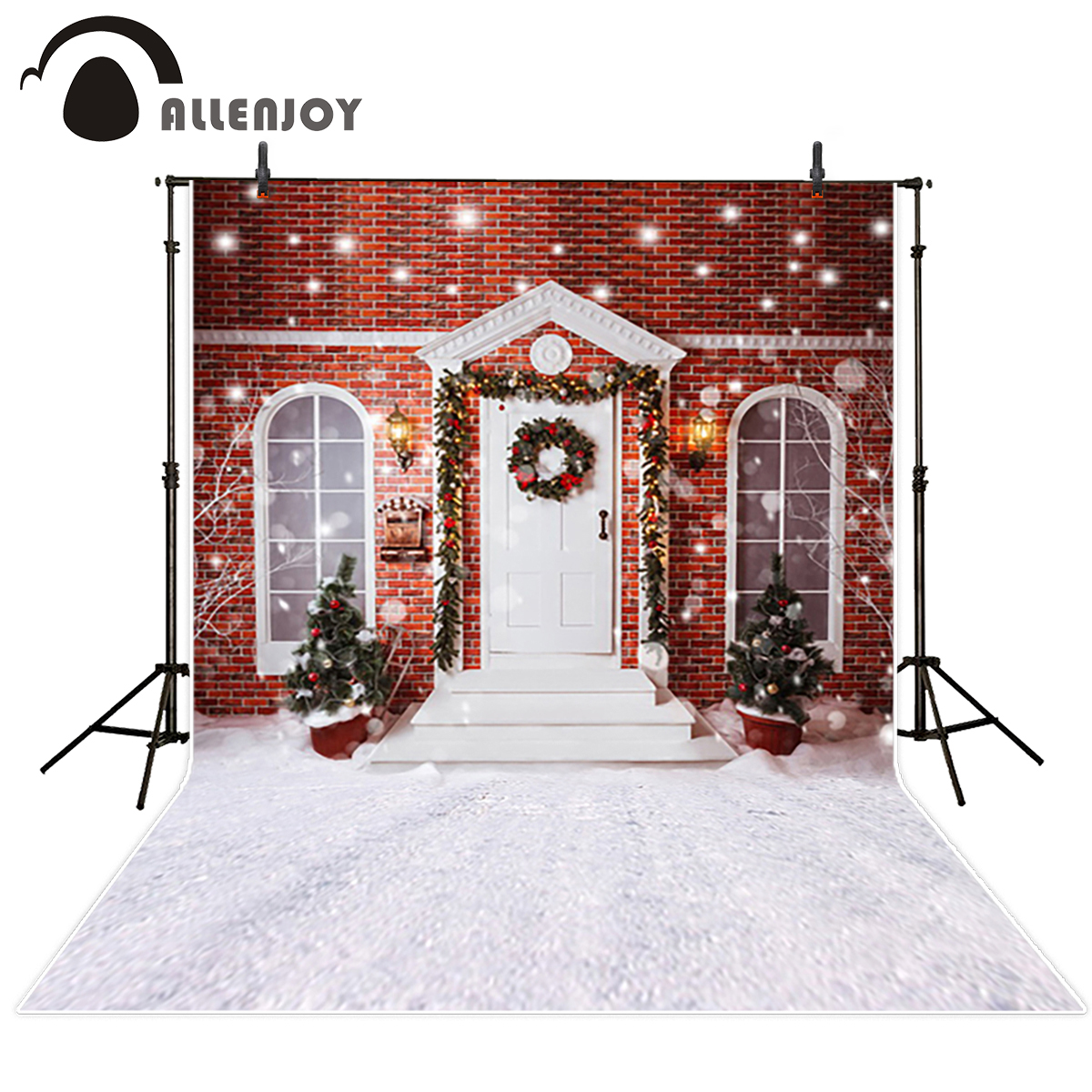 Allenjoy vinyl backdrops for photography Red brick wall door windows snow ground Christmas background for photographic studio