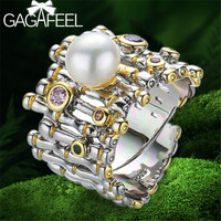 GAGAFEEL 925 Sterling Silver Baroque Pearl Ring Zircon Adjustable Women Rings with Natural Freshwater Pearl Jewelry