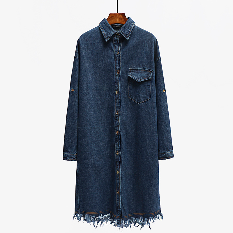 100% QualitäT 2019 Neue Denim Jacken Frauen Lange Stil Langarm Raw Rand Vintage Jean Jacke Denim Lose Frühling Herbst Denim Jeans Mäntel