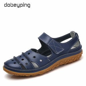 Image 3 - dobeyping Hollow Woman Sandals Breathable Women Beach Shoes Genuine Leather Female Flats Cut Outs Womens Loafers New Arrival
