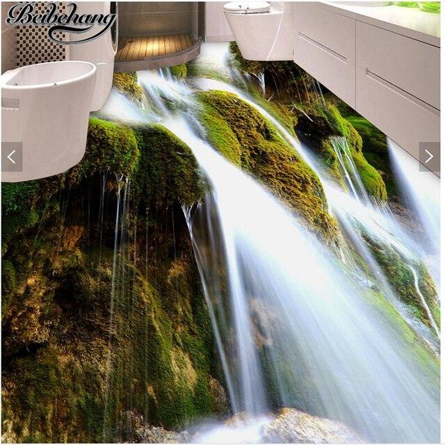 Beibehang Benutzerdefinierte Boden Dekoration Malerei 3d Schnen Wasserfall Moos Toiletten Wohnzimmer Schlafzimmer Bodenbelag Wand