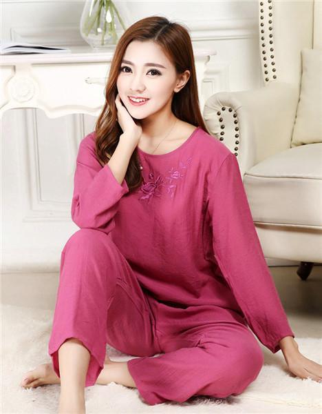 Dropwow Novelty Green Chinese Women Cotton Pajamas Set Nightgown ... 975691a34