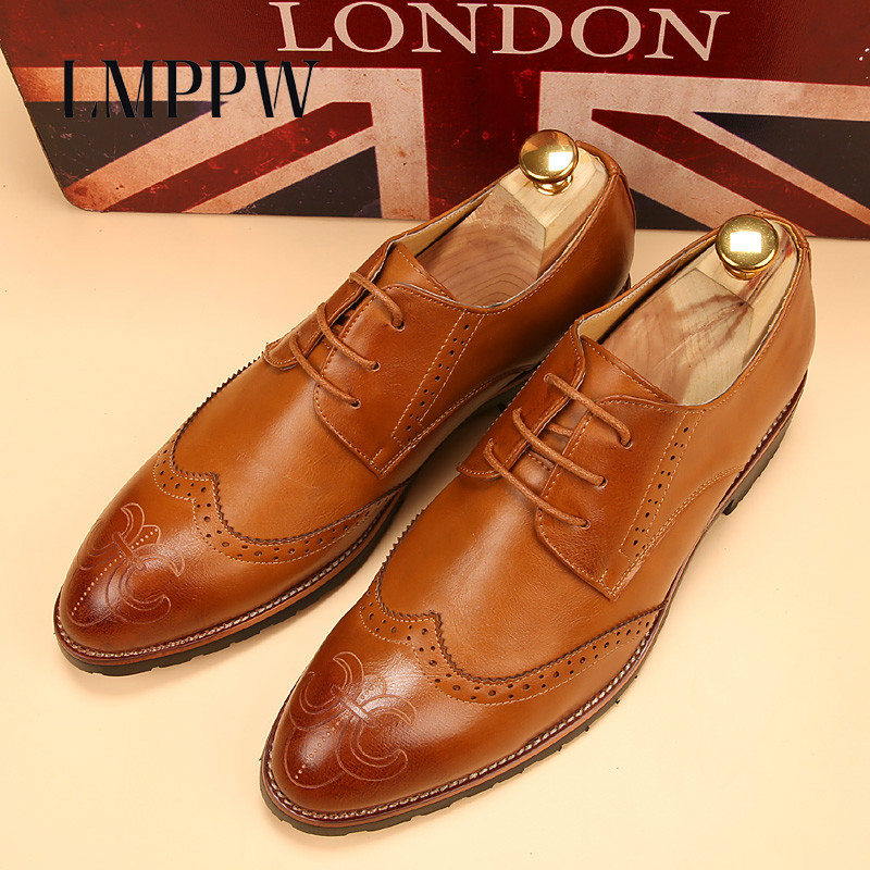 British Style Bullock Carved Men's Pointed Brogue Shoes Business Casual Men's Retro Shoes Fashion Pu Leather Men Oxford Shoes 2A 2016 summer new retro british style men s business suits round leather shoes shoes oxford shoes bullock carved free shipping
