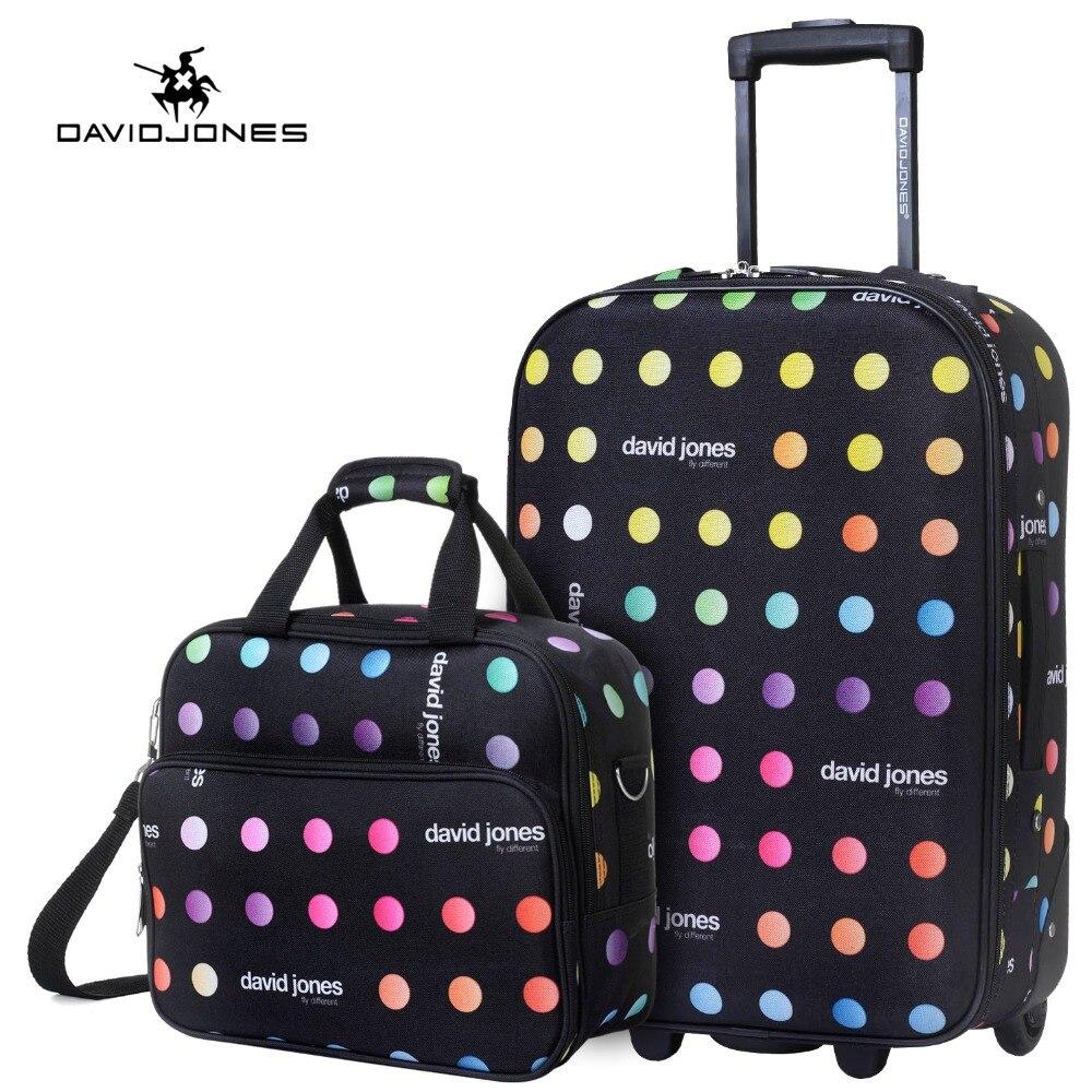 DAVIDJONES roue voyage valise set carry sur chariot sac fixe cabine grand bagages sac fille vintage valise boîte 20 pouce tronc