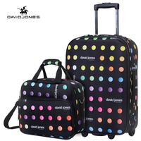DAVIDJONES wheel travel suitcase set carry on trolley bag fixed cabin large luggage bag girl vintage suit case box 20 inch trunk