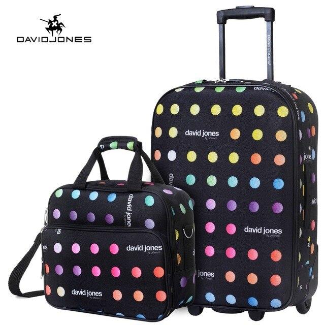 bfebbc316198 DAVIDJONES колеса чемодан путешествия комплект переноски на сумка тележка  фиксированная кабина большая сумка для багажа девушка