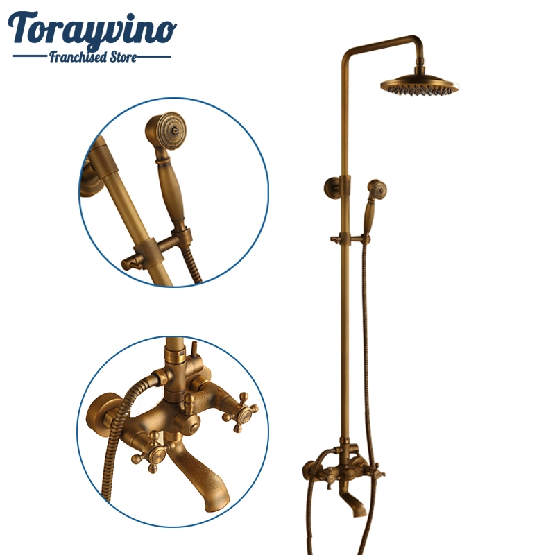 Luxury NEW Arrival Antique Brass Rainfall Shower Set Faucet + Tub Mixer Tap + Handheld Shower Spray Wall Mounted