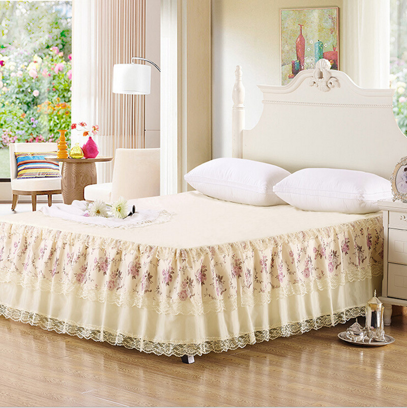 Korea Style Pretty Lace Floral Printing Bed Skirt Cotton