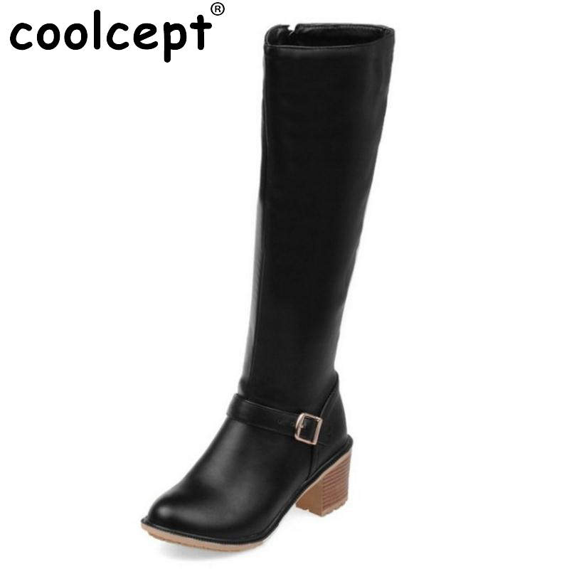 Women Square Heel Knee Boots Woman Fashion Round Toe Buckle Style Heels Shoes Ladies High Quality Knight Boots Size 34-43 enmayer green vintage knight boots for women new big size round toe flock knee high boots square heel fashion winter motorcycle