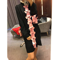 HIGH QUALITY Newest 2017 Spring Runway Designer Dress Women's Long Sleeve Pleated Pink Alignment Bow Dress Casual Dress