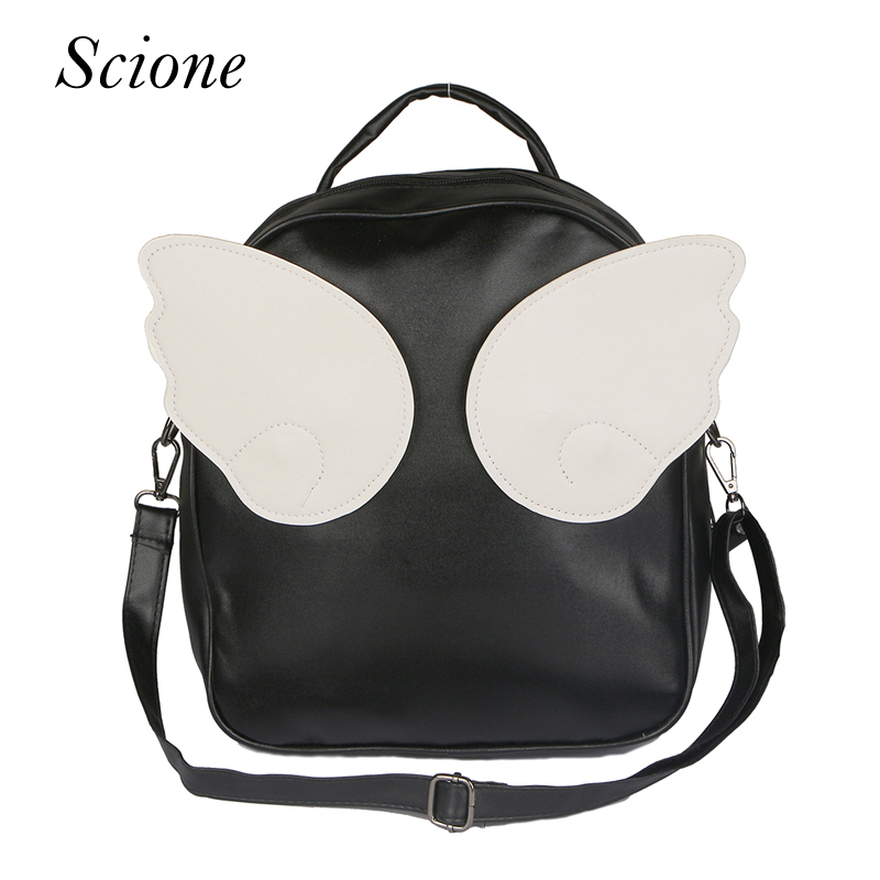 цена на 2017 Fashion Panelled PU Leather Angel Wings School Backpacks for Teenage Girls Mochila Bolsas Travel laptop Bags Rucksack Li256