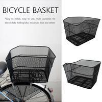 Bicycle Rear Basket Net Basket Rainproof No Cover Foldable Iron Net Large Car Basket Iron Net Basket Electric Bike Cycling
