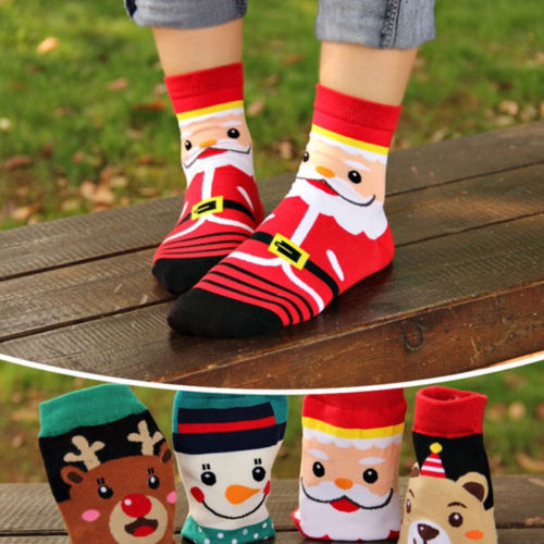 Santa Claus Cotton Socks Christmas Style New Fashion Men Women Unisex Reindeer Snowman Socks