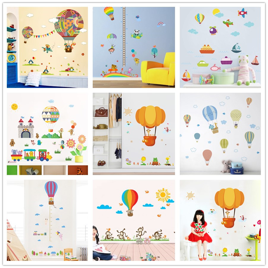 Colorful Rooms For Toddlers: % Colorful Hot Air Balloon Animal Giraffe Nursery Room