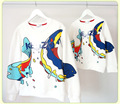 Peixe outono t-shirt longo da mamãe e me roupas de algodão roupas mãe e filha combinando moda outfits character luva cheia