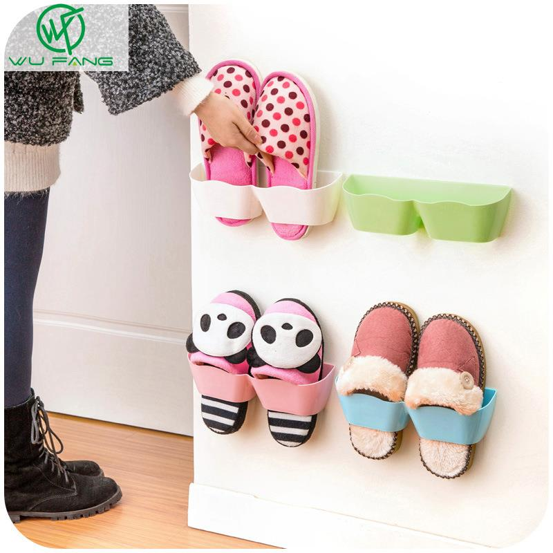 25 * 7.5 CM Wall-Mounted Sticky Hanging Shoe Holder Hook Shelf Rack Organizer Accessories Storage Holder