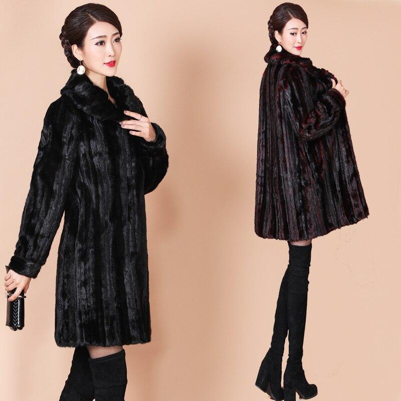 Kadın Giyim'ten Yapay Kürk'de Sıcak Vizon Kürk Ceket Artı Boyutu M 5XL Gevşek Kadın Yüksek end Kürk Ceketler Parka Kadın Kış Lüks Ceket Uzun kalın Kürk Palto A66'da  Grup 2