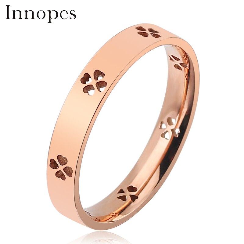 Innopes  fashion rose gold Flower ringfor Women stainless steel hollow luxury simple finger ring for girls