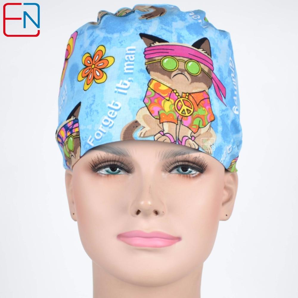 Hennar Hennar Surgical Caps Women Blue Print Medical Caps Cotton Adjustable Clinic Nurse Hats Medical Accessorie