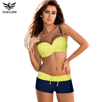 NAKIAEOI 2019 Bikini Push Up Swimwear Women Swimsuit Plus Size Swimwear Solid Patchwork Shorts Two-Pieces Swimming Bathing Suits - DISCOUNT ITEM  50% OFF All Category
