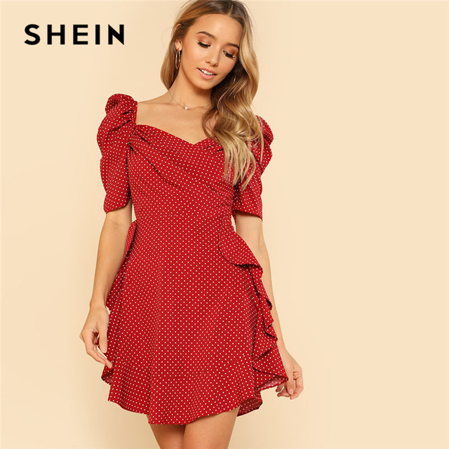 396b9fd03b2d56 SHEIN Puff Sleeve Ruffle Trim Dress Red V Neck Short Sleeve High Waist  Women Polka Dot