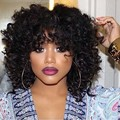 Cheap Afro Kinky Curly Synthetic Wig With Bangs Synthetic Hair Short Curly Wigs For Black Women afro wig kinky curly hair