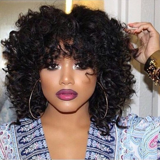 Cheap Afro Kinky Curly Synthetic Wig With